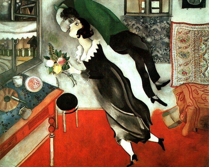 Amore travolgente  di  Maria Pellino... versi per il Dinanimismo con quadro di Chagall